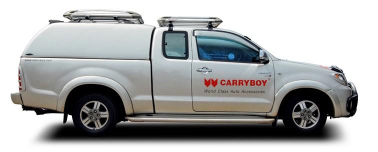 CARRYBOY GFK Hardtop geschlossene Seiten ohne Fenster 560os-TVC Toyota Hilux Vigo Extracab 2005-2015 Wagenfarbe