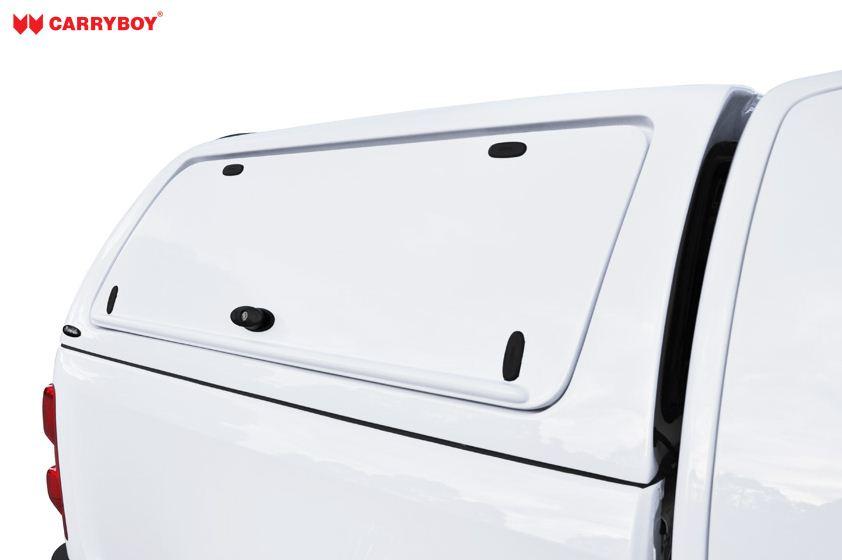 Volkwagen Amarok Hardtop von CARRYBOY mit seitlichen Klappen aus Kunststoff lackierte Seitenklappen