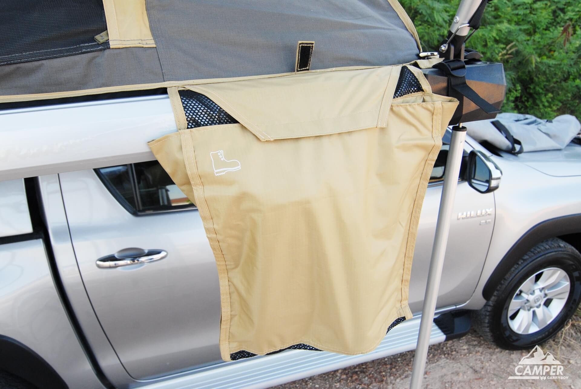 Carryboy Camper Dachzelt für 2 bis 3 Personen für alle Fahrzeuge Staufächer für Schuhesonen
