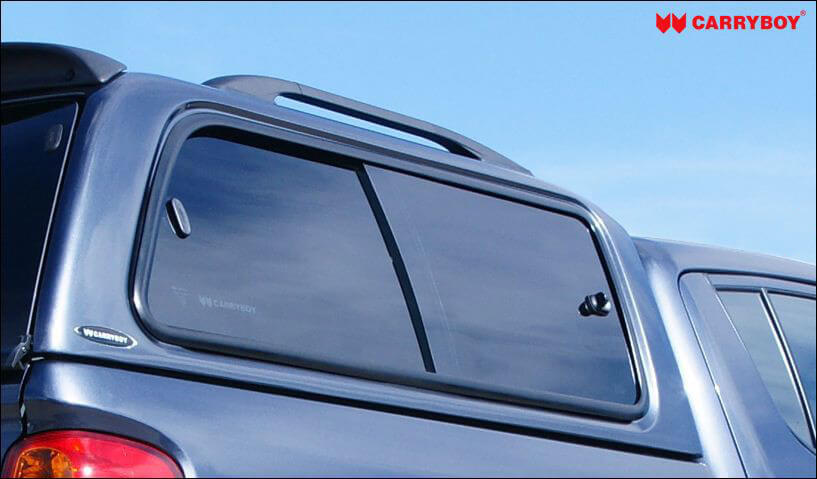 CARRYBOY Hardtop mit Schiebefenster 560-MTD Mitsubishi L200 Doppelkabine Kurzbett 2005-2015 belastbare Dachreling