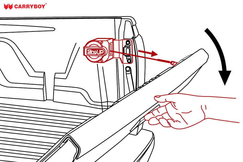 Slingup Zeichnung - Heckklappe öffnen