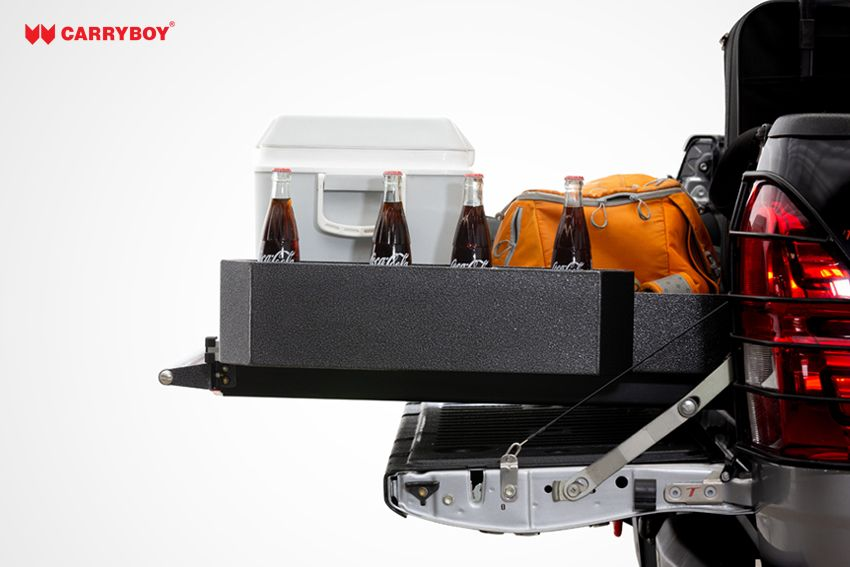 CARRYBOY Ladebodenauszug ausziehbare Ladefläche 350kg Belastung Aluminium Staufach