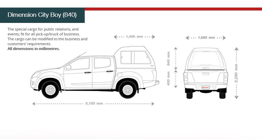 Carryboy Hardtop in Übergröße für Toyota Hilux Doppelkabine | Abmessungen