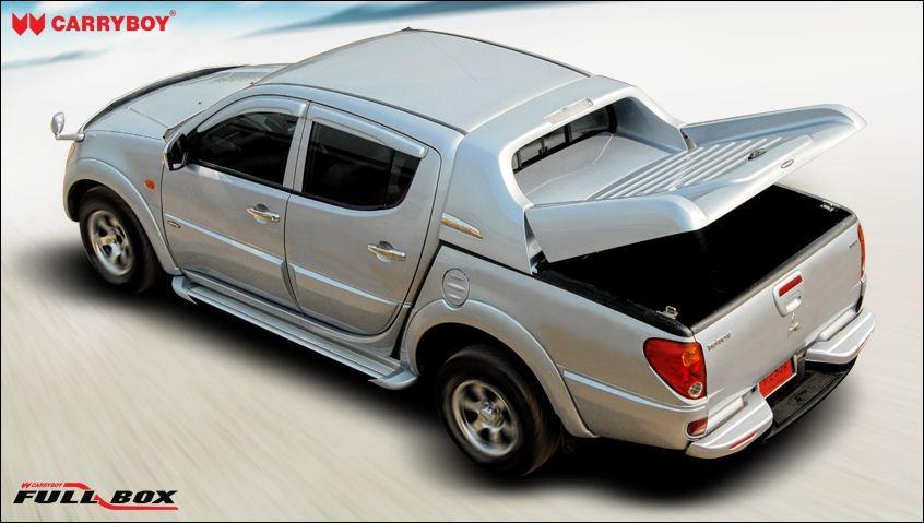 CARRYBOY Laderaumabdeckung Mitsubishi L200 Doppelkabine 2005-2015 Langbett Deckel zum Öffnen mit Stoßdämpfer