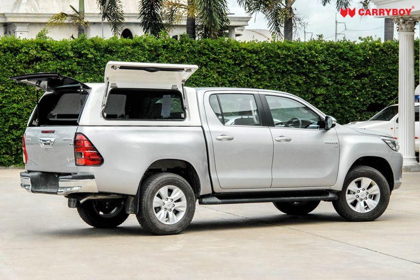 CARRYBOY Gewerbehardtop robustes GFK WM-TRD Toyota Hilux Doppelkabine Revo Invincible geschlossene große Seitenklappen
