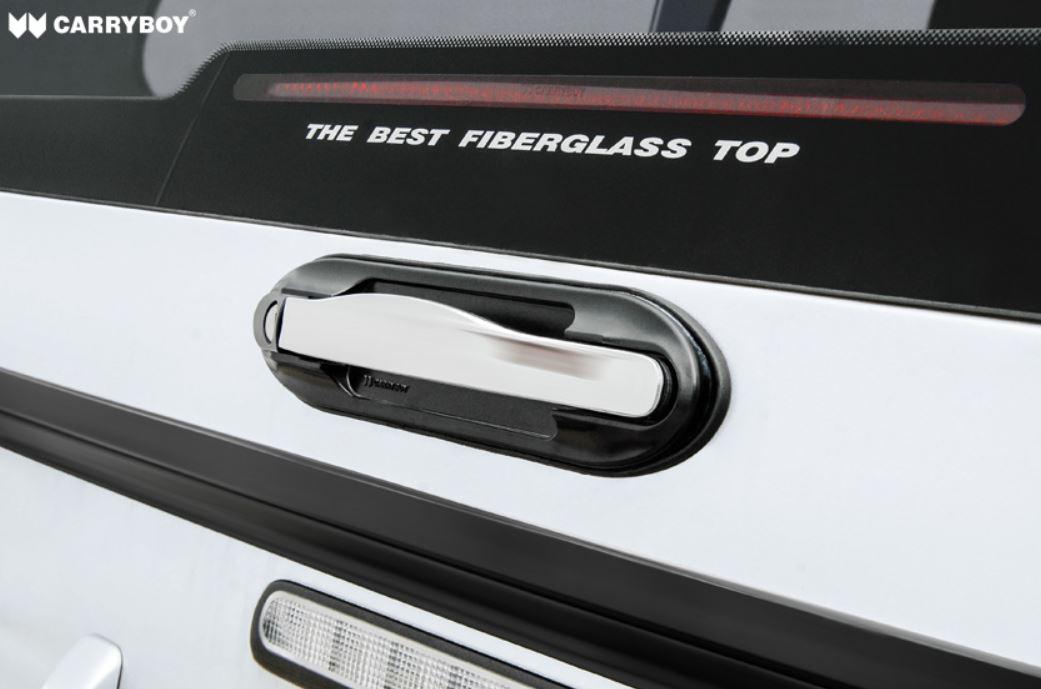 CARRYBOY Hardtop 840oS für Ford Ranger Singlecab ohne Fenster über Kabinenhöhe hohes Hardtop Chrom Hecktürschloss