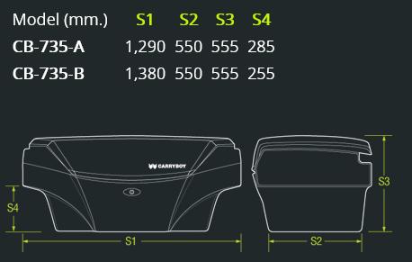 CARRYBOY Staubox Transportbox XXL Jumbo 735 Pickup Ladefläche Abmessungen