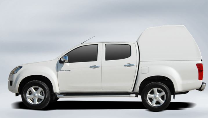 Ford Ranger Doppelkabine hohes Hardtop ohne Seitenfenster CARRYBOY 840os in Wagenfarbe lackiert