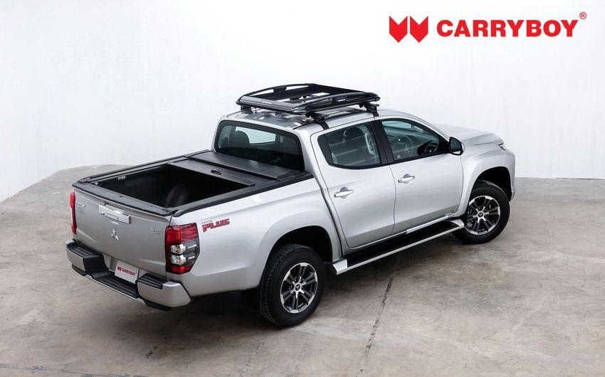 CARRYBOY Aluminiumrollo Mitsubishi L200 Doppelkabine mattschwarz Aluminiumcover offen fahrbar