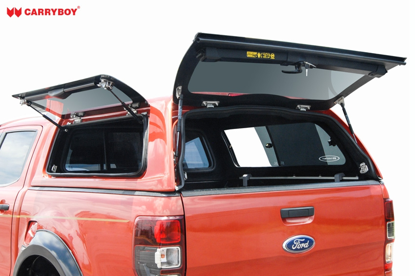 CARRYBOY Hardtop SO56-MND Mitsubishi L200 Doppelkabine 2016+ Klappfenster und Schiebefenster Kombination große Öffnungen an den Seiten