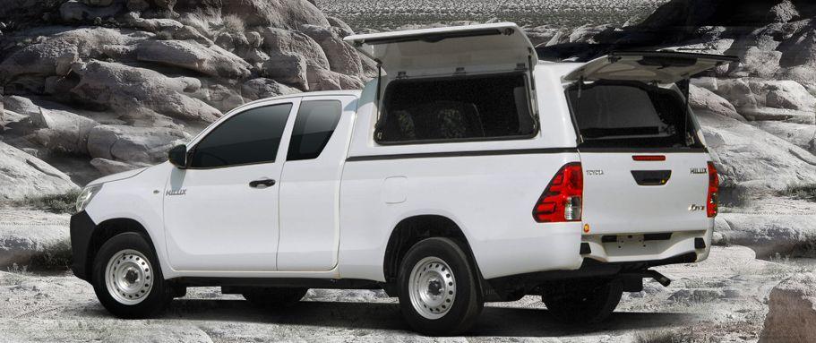 CARRYBOY Gewerbehardtop mit geschlossenen Seitenklappen Toyota Hilux Revo Extrakabine sicher abschliessbar