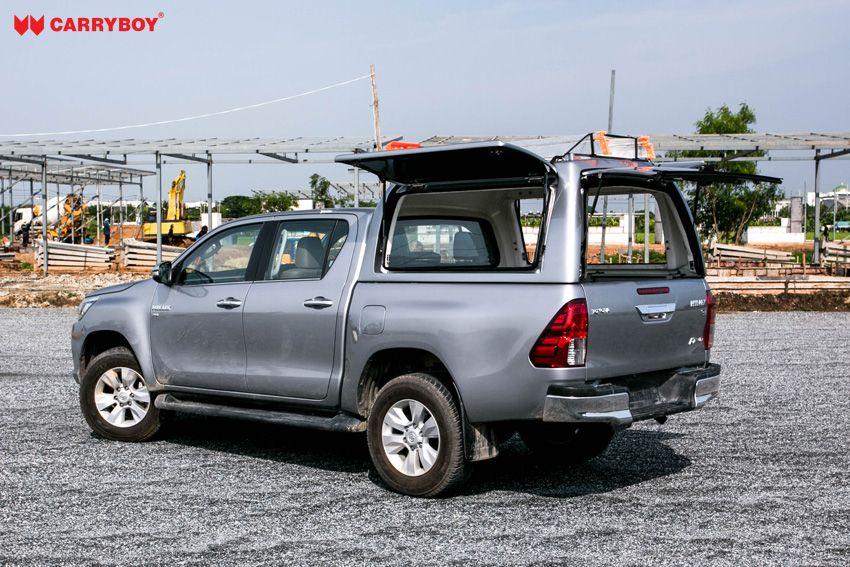 CARRYBOY stabiles GFK Hardtop Gewerbehardtop Überhöhe seitliche Klappen WMH-TRD Toyota Hilux Doppelkabine Revo Invincible Flügelklappen Seitenklappen