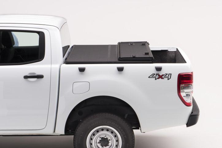 NOVISauto Laderaumabdeckung zum Falten Trifold SOLIDFOLD Ford Ranger Doppelkabine 2012+ dichtet ab liegt auf Ladekante auf