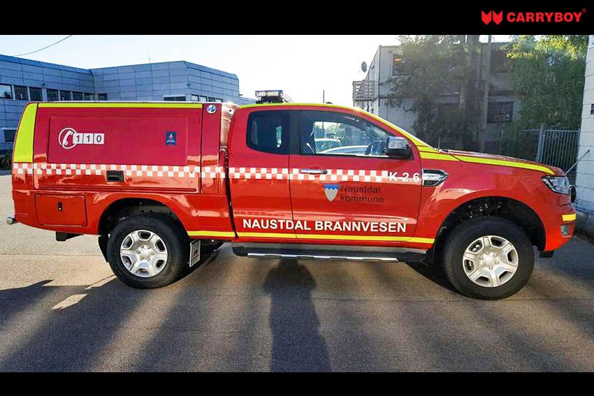 CARRYBOY Kofferaufbau CSV Lackierung in Wagenfarbe Ford Ranger Extrakabine Feuerwehr