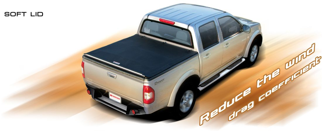CARRYBOY Laderaumabdeckung Vinylplane zum Aufrollen mit Klettverschluss Fiat Fullback Doppelkabine 2016+ Treibstoff sparen