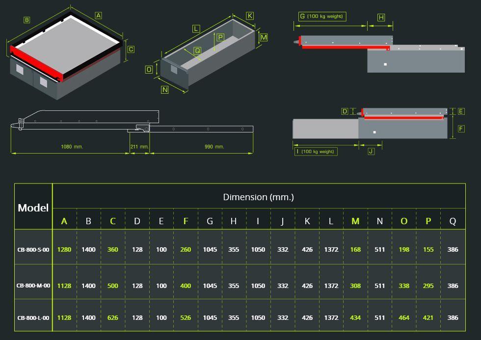 Abmessungen CARRYBOY Ladebodenauszug mit Schubladen verschiedene Größen