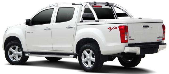 CARRYBOY Laderaumabdeckung SLX Deckel in Wagenfarbe mit Edelstahlbügel Toyota Hilux Vigo Doppelkabine 2005-2015