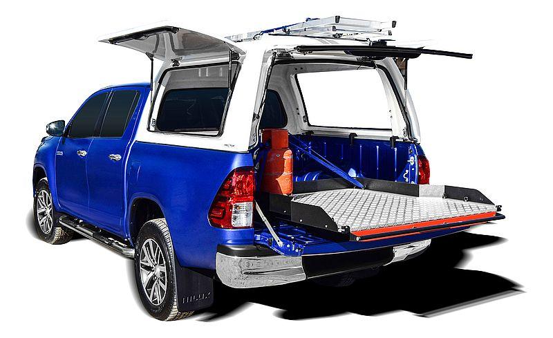 CARRYBOY Ladebodenauszug ausziehbarer Ladeboden 350kg Premium Aluminium Vollbett Schublade weit herausziehbar