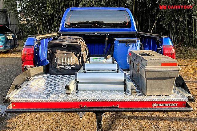 CARRYBOY Ladebodenauszug ausziehbarer Ladeboden 350kg Premium Aluminium Vollbett Schublade praktische Beladung