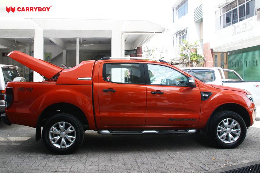 CARRYBOY Laderaumabdeckung Deckel Fullbox für Ford Ranger Doppelkabine 2012+ inklusive Sportbügel offen
