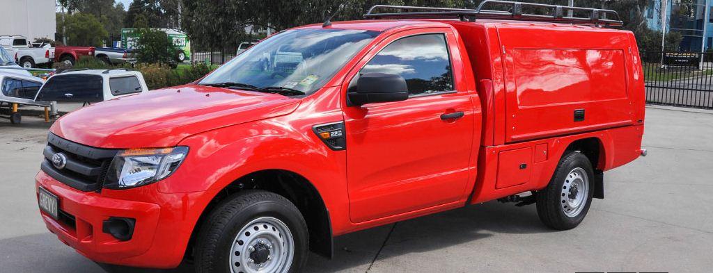 CARRYBOY Fahrgestellaufbau Kofferaufbau für Ford Ranger Singlecab in Wagenfarbe lackiert