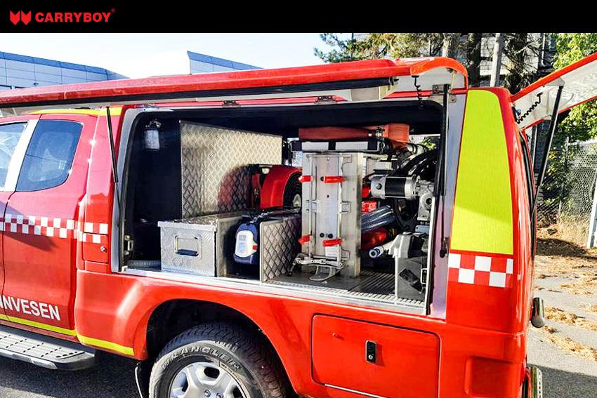 CARRYBOY Kofferaufbau CSV Lackierung in Wagenfarbe Ford Ranger Singlecab Feuerwehr Ausstattung