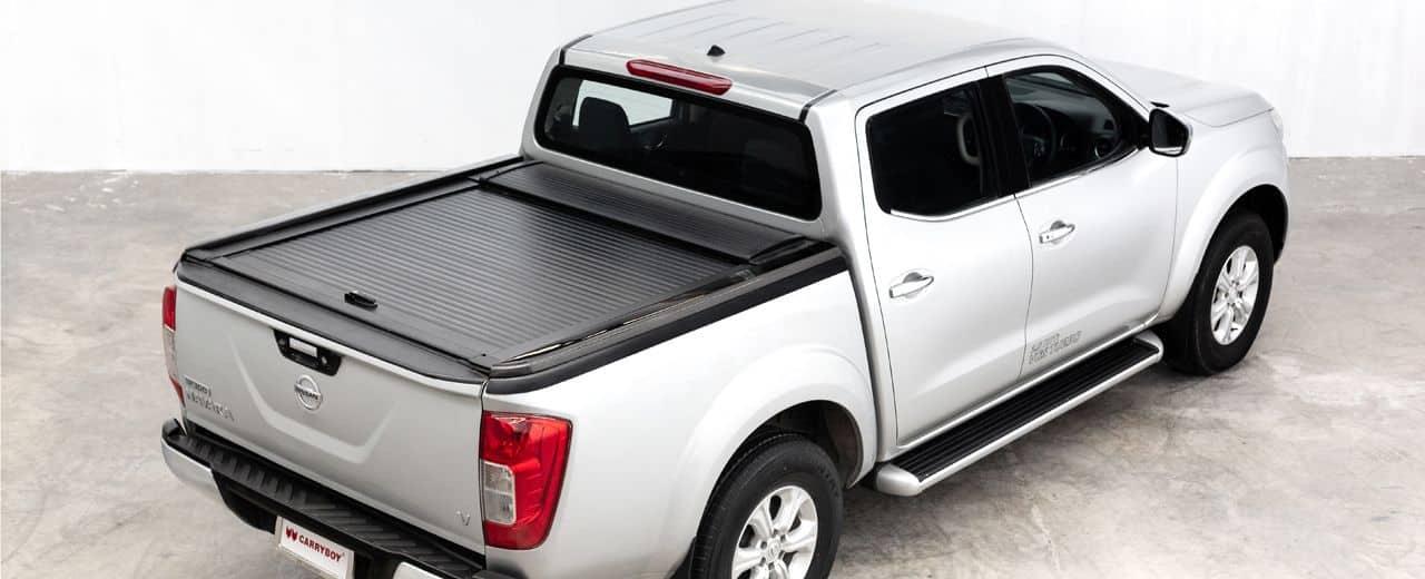 CARRYBOY Aluminiumrollo doppelwandig mattschwarz Nissan Navara NP300 Doppelkabine sicher abschließbar