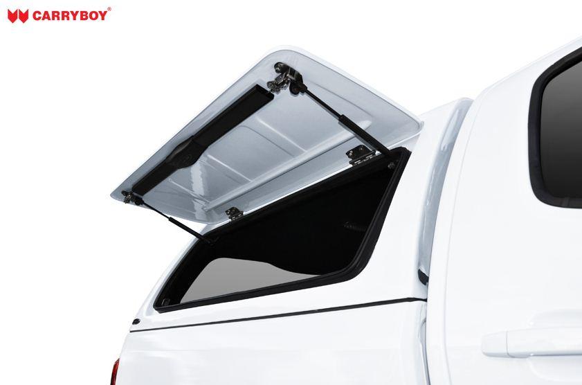 CARRYBOY Hardtop mit GFK Klappen lackiert für Toyota Hilux Revo_Invincible Doppelkabine - Stabilus Stoßdämpfer